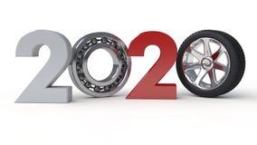 Illustration 3D von Datum 2020 mit Autorad und Tragen anstelle der null Wiedergabe 3D lokalisiert auf weißem Hintergrund vektor abbildung