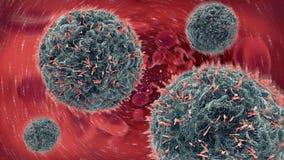 Illustration 3d von den Antikörpern, die Viruszelle in das bloo in Angriff nehmen Stockfoto