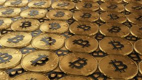 Illustration 3D von den bitcoins, die auf die Oberfläche legen vektor abbildung