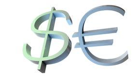 Illustration 3D von Dollar- und EuroWährungszeichen lizenzfreie abbildung