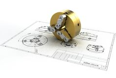 Illustration 3d von Drehbank chuk Lizenzfreie Stockfotos
