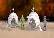 Illustration 3D von futuristischen Cyborg Androids, die auf entferntem Planeten landen stockbilder