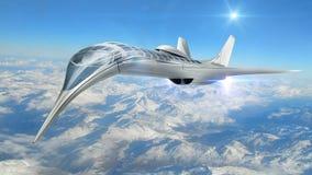Illustration 3D von futuristischen Flugzeugen lizenzfreie abbildung