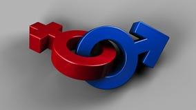 Illustration 3D von genistetem Pinky Female und von blauen männlichen Symbolen lizenzfreie abbildung