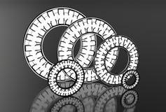 Illustration 3d von gestoßenen Nadellagern Stockbilder