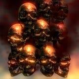 Illustration 3D von gruseligen Schädeln Stockbild