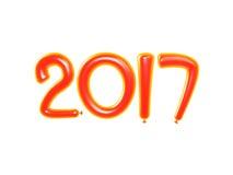 Illustration 3D von 2017-guten Rutsch ins Neue Jahr-Ballonen Guten Rutsch ins Neue Jahr-Hintergrund mit orange Zahl Ballons Lokal Lizenzfreie Stockfotos