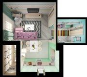 Illustration 3d von kleinen Wohnungen in den Pastellfarben Stockbild