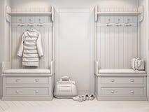 Illustration 3d von kleinen Wohnungen ohne Beschaffenheiten in der weißen Farbe Lizenzfreie Stockbilder