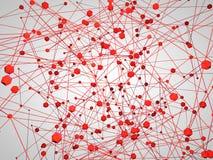 Illustration 3d von Kommunikation backgroung mit verbundenem rotem Hexagon und Linien auf einem weißen Hintergrund Lizenzfreie Stockbilder