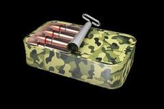 Illustration 3d von Kugeln in der Blechdose lokalisiert auf schwarzem Hintergrund Unfired-Munition Stockfotos