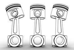 Illustration 3d von Maschinenkolben Lizenzfreie Stockbilder