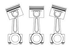 Illustration 3d von Maschinenkolben Stockfotos