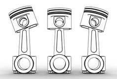 Illustration 3d von Maschinenkolben Stockbild