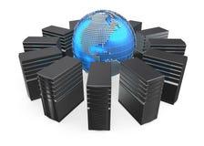 Illustration 3D von Netzarbeitsplatzservern Stockfotos