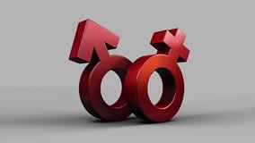 Illustration 3D von Pinky Female und von blauen männlichen Symbolen lizenzfreie abbildung