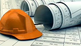 Illustration 3d von Plänen, von Hausmodell und von Baugeräten Lizenzfreies Stockfoto