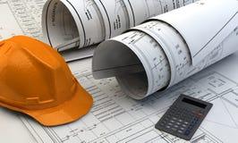Illustration 3d von Plänen, von Hausmodell und von Baugeräten Lizenzfreies Stockbild