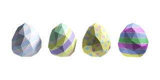 Illustration 3D von polygonalen Ostereiern in Folge Getrennt auf weißem Hintergrund Lizenzfreies Stockfoto