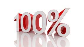 Illustration 3D von Prozentsatz 100 Stockfoto