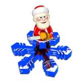 Illustration 3D von Santa Claus auf einer Schneeflocke Stockfotos