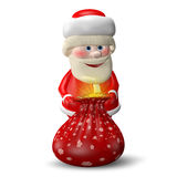 Illustration 3D von Santa Claus mit einer Tasche Stockfoto