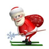Illustration 3D von Santa Claus mit einer Tasche durch Ski Stockfotos