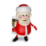 Illustration 3D von Santa Claus mit Glas von Champagne Lizenzfreie Stockbilder