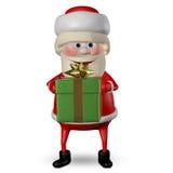 Illustration 3D von Santa Claus mit grünen Geschenken Lizenzfreie Abbildung