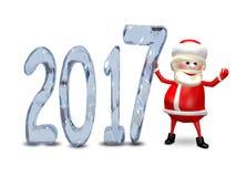 Illustration 3D von Santa Claus und von Eis-Zahlen Stockfotografie