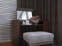 Illustration 3d von Schlafzimmern in der braunen Farbe Stockfotos
