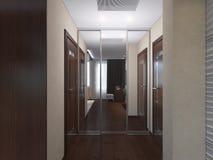 Illustration 3d von Schlafzimmern in der braunen Farbe Stockfotografie
