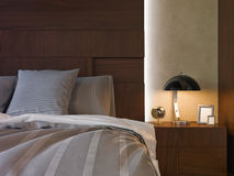 Illustration 3d von Schlafzimmern in der braunen Farbe Lizenzfreies Stockbild