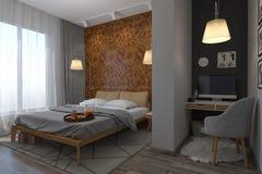 Illustration 3d von Schlafzimmern in einer skandinavischen Art Stockfotografie