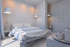 Illustration 3d von Schlafzimmern in einer skandinavischen Art ohne Kameraden Stockfoto