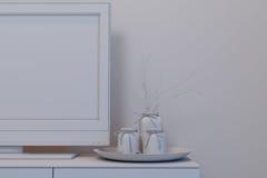 Illustration 3d von Schlafzimmern in einer skandinavischen Art ohne Kameraden Lizenzfreie Stockfotos