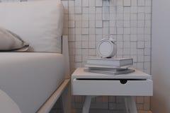 Illustration 3d von Schlafzimmern in einer skandinavischen Art ohne Kameraden Lizenzfreie Stockbilder