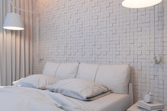 Illustration 3d von Schlafzimmern in einer skandinavischen Art ohne Kameraden Lizenzfreie Stockfotografie
