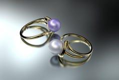 Illustration 3D von silbernen Ringen mit Perle Stockfotografie