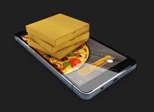 Illustration 3d von Smartphone mit Pizza auf dem Schirm und dem Kasten der Pizza Schnellimbisskonzept der Bestellung Stockbilder