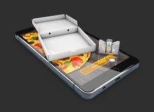 Illustration 3d von Smartphone mit Pizza des Kasten-, Salz- und Pfefferschüttels-apparat On-line-Lebensmittellieferung Lizenzfreies Stockbild
