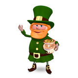 Illustration 3D von St Patrick im Hut hält Topf Lizenzfreies Stockfoto