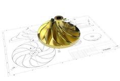 Illustration 3D von Turbo-Antreiber stock abbildung