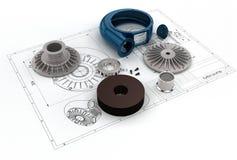 Illustration 3D von Turbo-Pumpe Lizenzfreie Stockfotografie