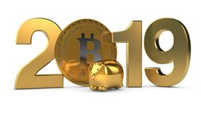 Illustration 3D von 2019 und die goldene Planet Erde mit bitcoin cryptocurrency Münzen Die Idee für den Kalender, ein Symbol von vektor abbildung