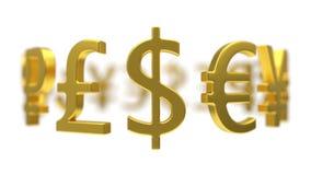 Illustration 3d von Währungszeichen Stockfoto