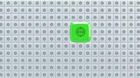 Illustration 3d von WandNetzsteckersockeln mit großem Grünwechselstrom-Kriegsgefangen Lizenzfreie Stockfotografie