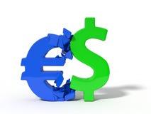 Illustration 3d von zusammenstoßenden Dollar- und EuroWährungszeichen lizenzfreie abbildung