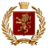 Illustration 3D Wappenkunde, rotes Wappen Goldener Ölzweig, Eichenniederlassung, Krone, Schild, Löwe Isolat stock abbildung