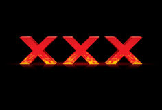 Illustration of 3D word xxx, vector Royalty Free Stock Images